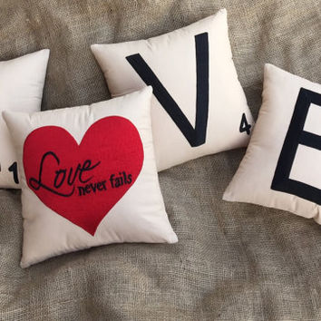 20%OFF  Valentine sale Set of 4 Pillows Scrabble LOVE And Heart Cushion Pillows Anniversary Love Valentine Gift Wedding Decor