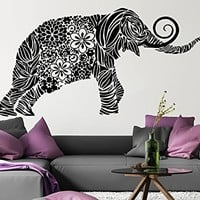 Wall Decal Elephant Vinyl Sticker Decals Lotus Indian Elephant Floral Patterns Mandala Tribal Buddha Ganesh Om Home Decor Bedroom Art Design Interior NS552