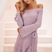 Off Shoulder Knitted Ruffled Sweater Dress