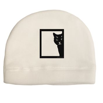 Cat Peeking Adult Fleece Beanie Cap Hat by TooLoud