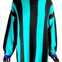 80's Striped Turtleneck Sweater