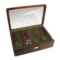 Forzieri Designer Jewelry Boxes Brown Leather Eight-Watch Box