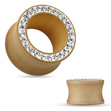 Organic Maple Wood Eyelets W/ Hot Fixed on Clay C.Z. Paved Rim 0G (8mm)