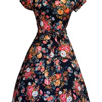 Vintage Black Floral Day Dress