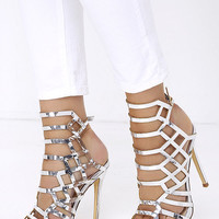 Impact the Outcome Silver Caged Heels