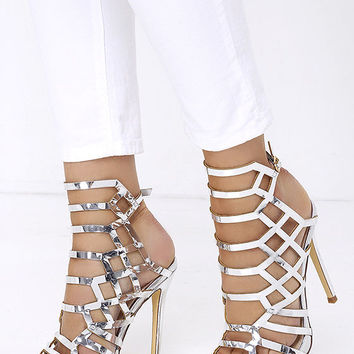 Impact the Outcome Silver Caged Heels from Lulu*s | Heels
