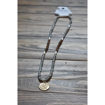 Gold Coin Charm Necklace, Grey