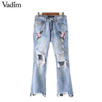 sweet floral embroidery holes denim jeans fringe tassel pockets ankle length pants ladies casual brand trousers