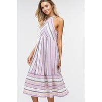 Summer Striped Cotton Midi Dress - Light Plum