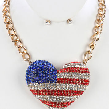 HEART SHAPED FLAG NECKLACE AND EARRING SET