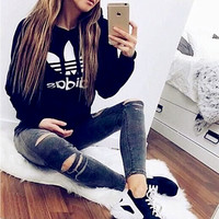 "Fashion ""Adidas"" Print Hooded Pullover Tops Sweater Sweatshirts Black high quality"