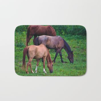 Grazing Horses Bath Mat by Scott Hervieux