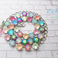 Summer Pastels, Swarovski Crystal Necklace, 8mm, Matte Stones, Bridal, Easter, Adjustable, Stunning, DKSJewelrydesigns, FREE SHIPPING