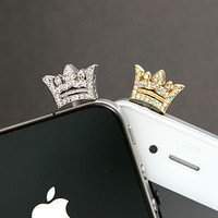 Crystal Tiara Anti-dust Plug Earphone Cap Cellphone Charm iPhone Accessories