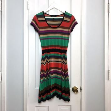BCBGMaxAzria women's striped cotton multicolor midi dress sz S