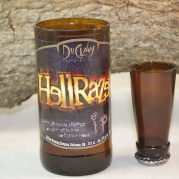 Unique Glassware Upcycled from DuClaw's HellRazer Beer Bottles, Shot Glass, Drinking Glass