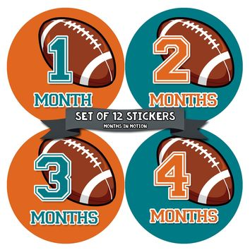 Monthly Baby Stickers Football Baby Boy Month 1-12 Milestone Age Sticker Photo