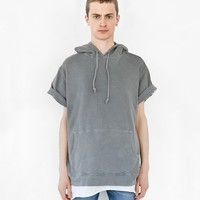 Pigment Dyed Cut-Off Washed Hoodie in Faded Gray