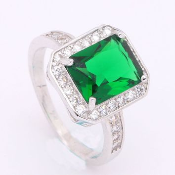 green stone Silver Color cheap fashion jewelry white cz promise paved luxury lady engagement rings for women Wedding