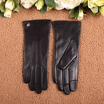 Womens Classic Touchscreen Texting Winter Warm Driving Hairsheep Leather Gloves 100% Pure Cashmere Lined