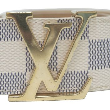LOUIS VUITTON Damier Azur LV Initiales Men's Belt Size 80
