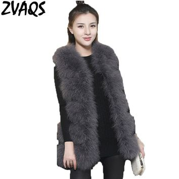 2017 Winter Real Ostrich Feather Fur Vest Female Medium Long Slim Sleeve off Fur Coat Thick Warm Natural Turkey Wool Vests ST014