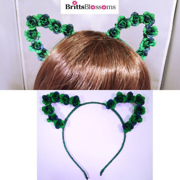 Green Cat Ears, Cat Ears, Flower Cat Eats, Flower headband, Flower halo, Flower crown