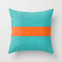 Aqua and Orange Classic Throw Pillow - Geometric Pillow - Modern Decor - Throw Pillow - Urban Decor - by Beverly LeFevre