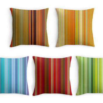 Striped Throw Pillow, Colourful Stripes Scatter Cushion, 16x16, Home Decor, Cushion Cover