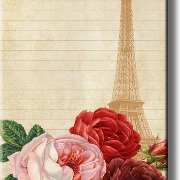 Eiffel Tower Paris and Roses Picture on Acrylic , Wall Art Décor, Ready to Hang