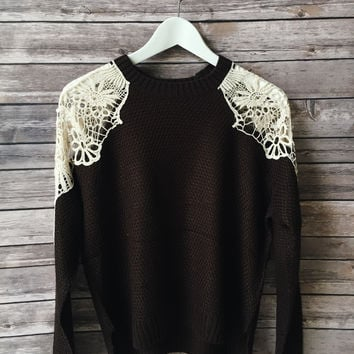 Dakota Crochet Inset Sweater (Brown)