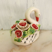 Vintage big ceramic Swan with Roses handmade figurine Shabby chic ornated swan bird bookend
