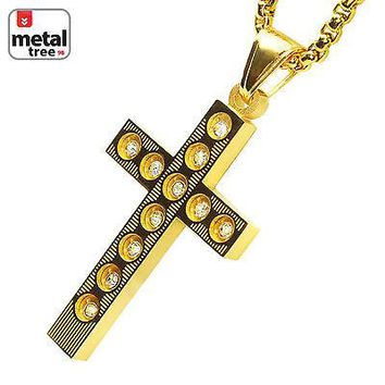"""Jewelry Kay style Men's Cross Pendant Stainless Steel 14k Gold Plated 24"""" Box Chain Set SCP 197 G"""
