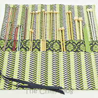 Roll-Up Knitting Needle Case - Lime Green and Navy