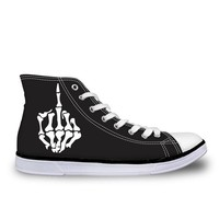 Men's Shoes Lace Up High Top Canvas Skull Finger Classic Sneakers