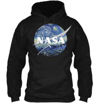 NASA Starry Night Classic Chevron Logo Graphic T-Shirt Pullover Hoodie 8 oz