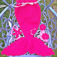 Newborn Baby Girl little mermaid set, 0-5 years, mermaid tail, mermaid outfit, mermaid costume, photo prop, shocking pink,headband, top