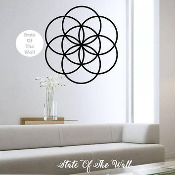 Seed Of Life Sacred Geometry Vinyl Wall Decal Sticker Art Decor Bedroom Design Mural interior design Buddha sacred geometry mandala flower
