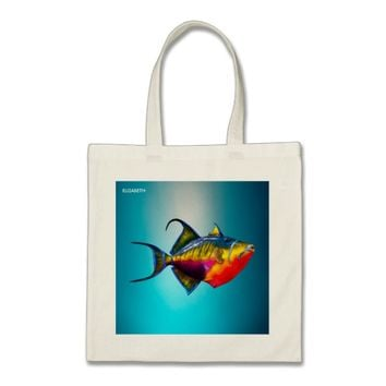 Psychedelic Colorful Triggerfish Fish Drawing Tote Bag