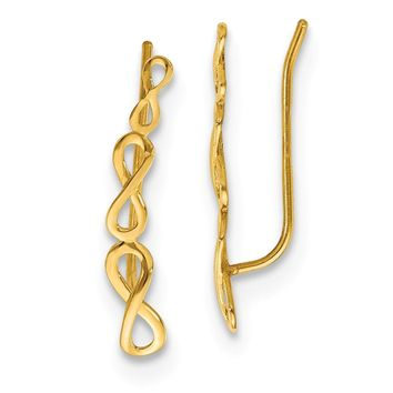 14k Yellow Gold Polish Infinity Climber Earrings