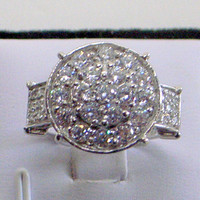 White Sapphire Ring - Engagement - Wedding - Round Cluster - SALE - Sterling Silver -  Size 7.5