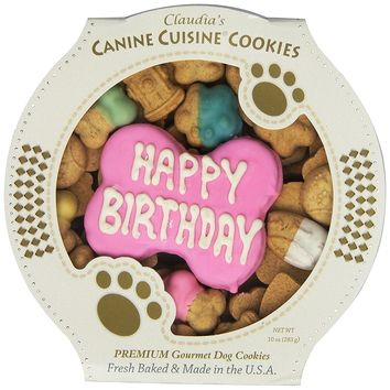 Claudia's Canine Cuisine Peanut Butter Dog Cookies, 10-Ounce, Happy Birthday, Pink