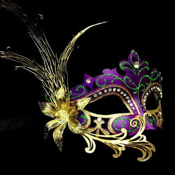 Fancy Masquerade Ball Mask - Luxury Venetian Filigree Laser Cut Metal Flower