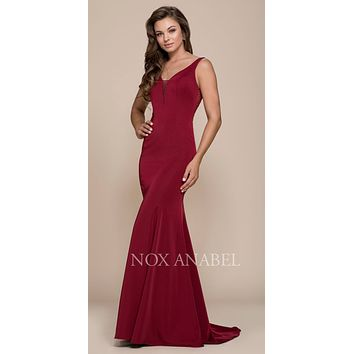 Burgundy Floor Length Prom Dress Illusion Open Back