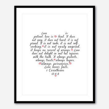 Love Never Fails - Typographical Art Print - Wall Art - Bible verse - 8 x 10 print - 1 Corinthians 13: 4 - 8 Wedding Gift Housewarming gift