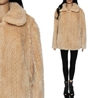 Plush Faux Fur Shearling Coat Light Beige Reversible Boho Hipster Club Kid 90s Clothing Womens Size Large