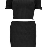 Bella Short Sleeve Rib Knit Mini Co-ord Set