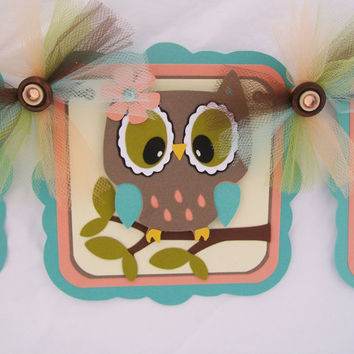 Owl baby shower banner, its a girl banner, peach, and teal READY TO SHIP