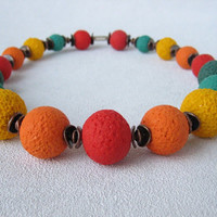 Colorful Yellow orange red necklace bead necklace bead summer jewelry multicolor necklace bright polymer clay jewelry necklace colorful