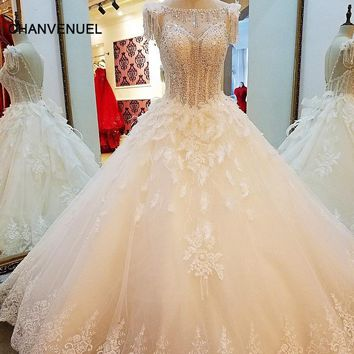 LS06722 ivory champagne wedding dress ball gown lace up back beading crystals top wedding gown 2018 bruidsjurken real photos